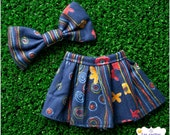 Navy Blue and Yellow Flowers Skirt and bow BLYTHE PULLIP LICCA