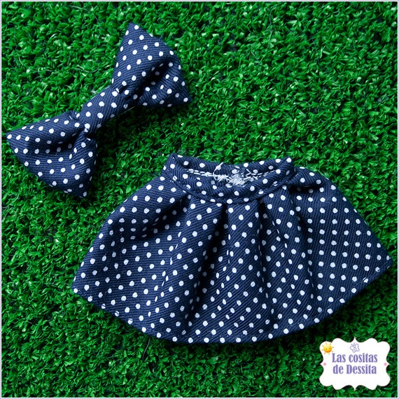 Navy Blue and White Mini Polka Dots Skirt Falda Blythe Pullip