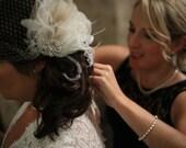 Rhinestone, Pearl, Silver Beaded Bridal Ivory Feather Fascinator, Wedding Hair Accessory, Bridal Fascinator, Fascinator, Bridal Veil