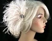 Bridal Feather Fascinator, Bridal Fascinator, Bridal Headpiece, Gatsby Wedding, Bridal Veil