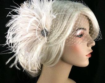 Fascinator, Bridal Feather Fascinator, Bridal Fascinator, Bridal Headpiece, Gatsby Wedding, Bridal Veil
