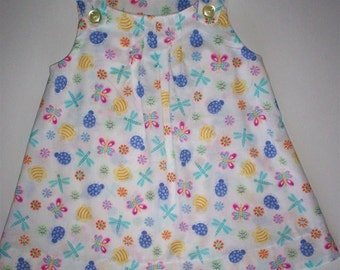 Colorful Print Dress or Top Has Scalloped Hem in 2 Sizes