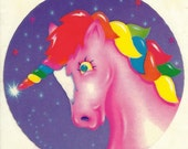 Vintage 80's Lisa Frank Unicorn Rainbow Sticker