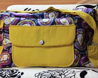 Diaper Bag - paisley purple green baby shower gift baby girl boy