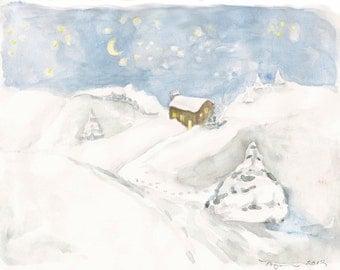 """Watercolor Sketch of a Snowy Night, 8"""" x 10""""  Original"""