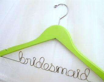 Mint Green Bridal Party Hanger - Shades of Green Personalized Wedding Dress Hanger, Shamrock, Sage
