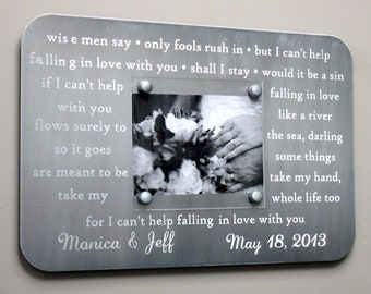 10 Year Anniversary Gift, Engraved Picture Frame, Wedding Song Vows, First Dance Personalized Wedding Gift, Steel Anniversary Wedding Gift