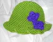 Child's Lime Green Crocheted Hat with Purple Flower Accents