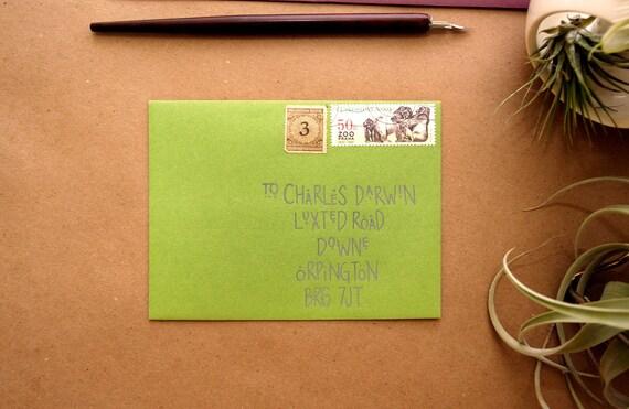 Wedding Calligraphy - Fun, Modern Meadow Green Envelope Addressing
