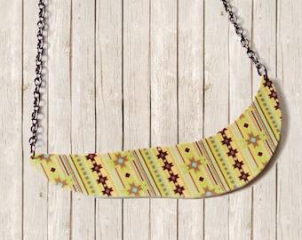 Fall Fashion Boho Bohemian Chic Tribal Statement Bib Art Necklace - One Dog Night Collection - OOAK Boho Pendant Retro Gunmetal Chain