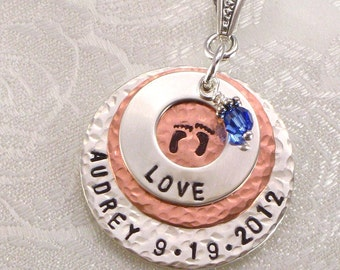Mother's Personalized Sterling Silver Eternity Circle Necklace Hand Stamped with Baby Feet, Name and Birthdate on Copper Disc - for Mom