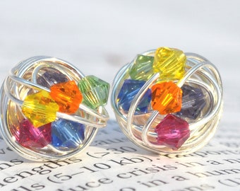 The Rainbow Series-  Signature Wire Wrapped Stud Earrings with rainbow colored swarovski crystal beads