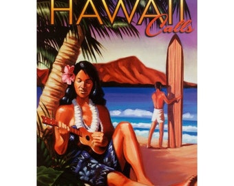 HAWAII 9- Handmade Leather Postcard / Note Card / Fridge Magnet - Travel Art