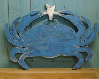 Blue Crab Sign Starfish Beach House Sign Coastal Ocean Wall Art by CastawaysHall