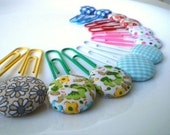 Decorative  jumbo paper Clips, bookmark- Fabric Covered Button,12 PIECES