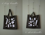 "Made to Order, Large Market Tote, Shopper Bag : ""Squares""  Hand-printed on Washed Charcoal Grey"
