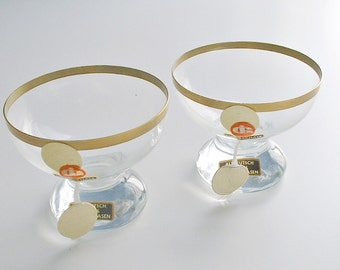 Vintage 24K Gold Trimmed Glass Vases with Labels 1960's Ingrid Glass