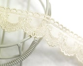 embroidered mesh lace 1yard (width 2.5cm) 40091-5 ivory