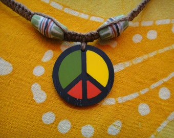 Rasta Peace Sign African Beaded Hemp Necklace / Choker