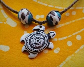 Hawaiian Sea Turtle African Bead Hemp Necklace