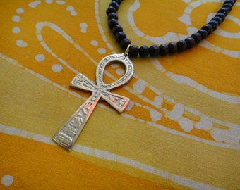 Ancient Egyptian Ankh Pendant Prayer Bead Necklace Coptic Cross Mens Amulet