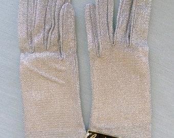 Vintage 60s Silver Lurex Gloves By Cornelia James, Glove Maker to the Queen  Size 6  Mint
