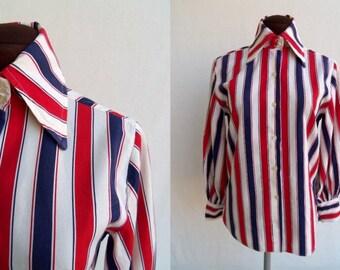 Vintage 60s 70s Blouse Red White Blue Stripes Cotton Size 34 / Small Mod