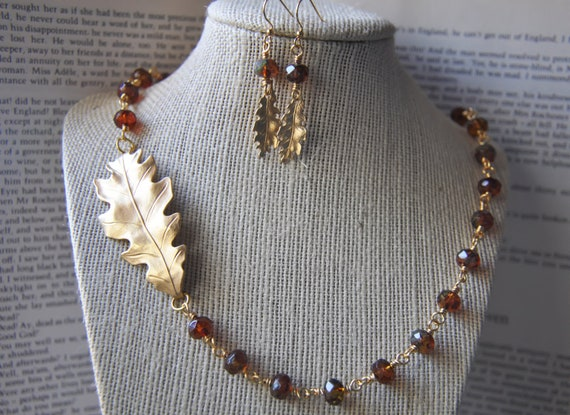 Oak Leaf Necklace And Earrings - Autumn Fall wedding - Jewelry Set - Gift Wrapped - Nature Inspired - Woodland Forest - Honey Golden Brown