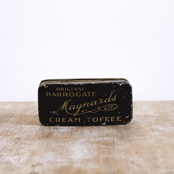 Vintage Maynards tin Cream Toffee tin from 1920s black purple and silver metal box or tin sewing