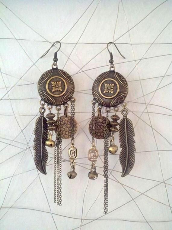 Brass Gypsy Charmer Earrings