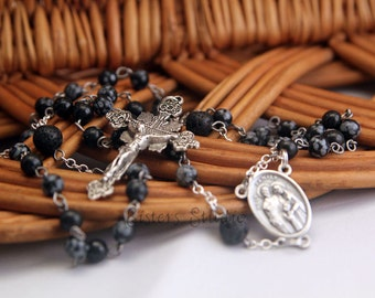 Holy Family Rosary, Snowflake Obsidian and Lava Rock
