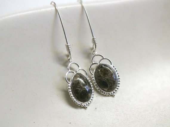 Black Turritella Agate and Sterling Silver Drop Earrings
