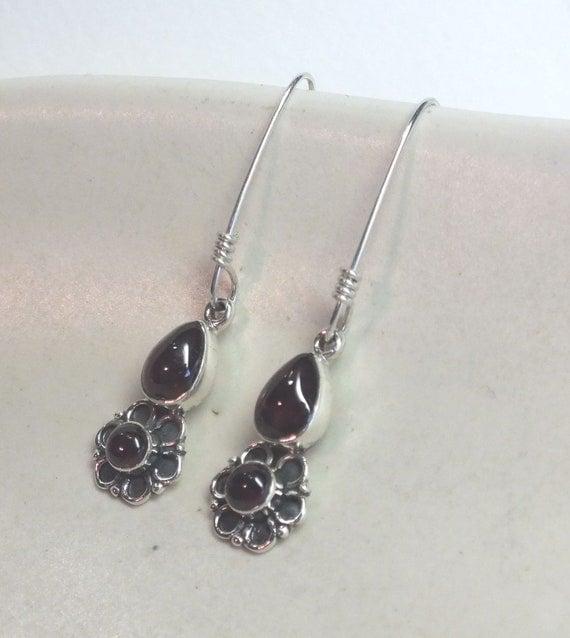 Deep Red Garnet and Sterling Silver Flower Drop Earrings