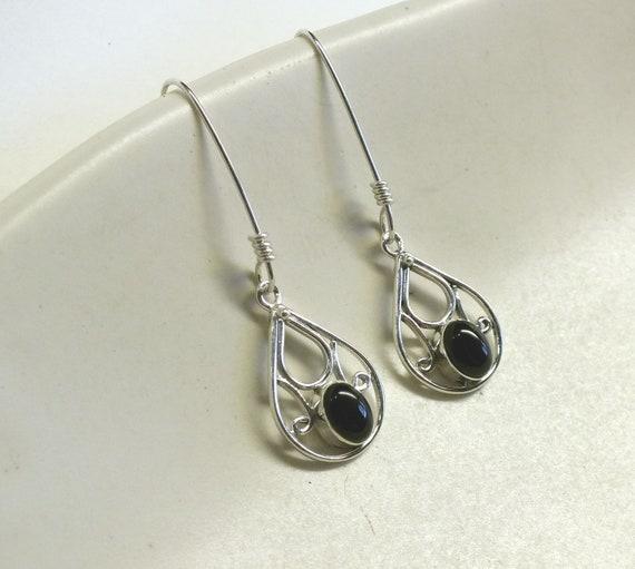 Teardrop Black Onyx and Sterling Silver Drop Earrings
