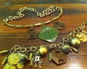 Vintage Bakelite Button Jewelry Necklace, Bracelet and Earrings by LilyHill Vintage