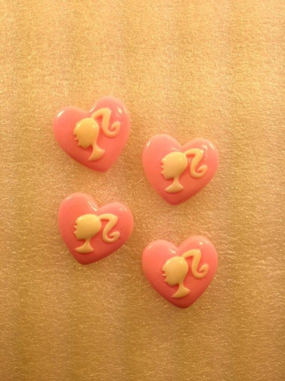 NeW BaRbiE HeaRt KaWaii ... Resin Flatback Cabochon 4 pieces... USA SHIPPING 50% oFF wiTh CoUpOn CoDe: SALE50