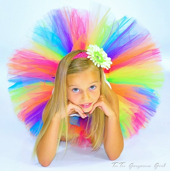 Rainbow Birthday Tutu...Colorful Rainbow Tutu for Birthday Girls, Halloween Clown Tutu...Baby to Adult Women Sizes . . . CANDY RAINBOW TUTU