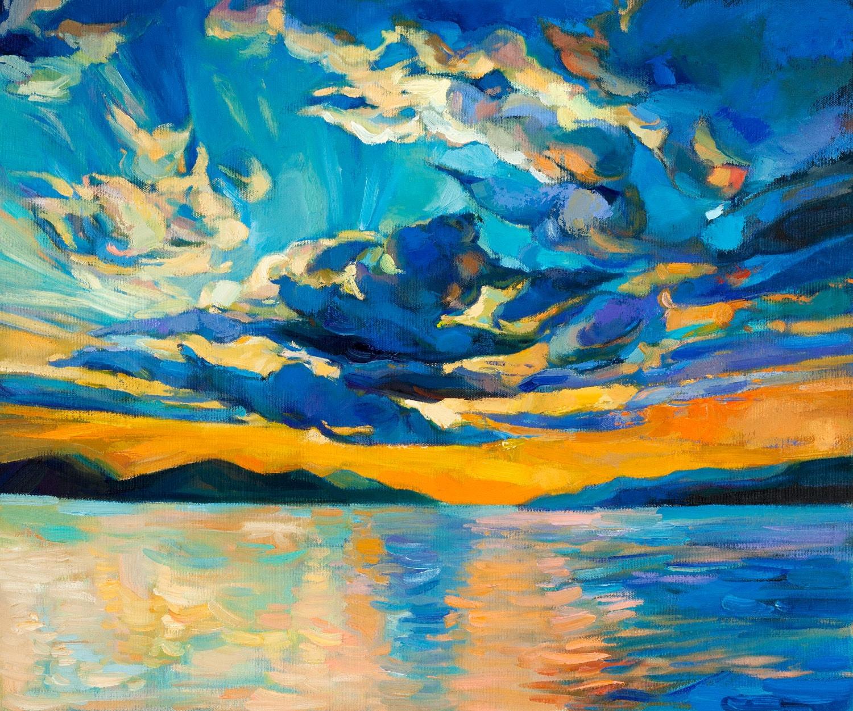 Clouds 24x20 inch original oil painting by nikolov for Peinture mural original