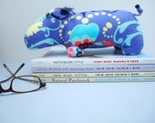 Super-soft hippo plush in sophisticated periwinkle floral print