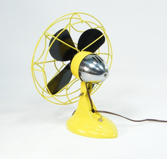 Vintage Electric Fan Yellow and Black