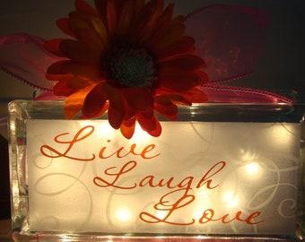 Live, Laugh, Love glass block light