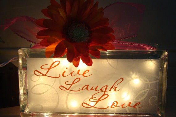 Live, Laugh, Love glass block light