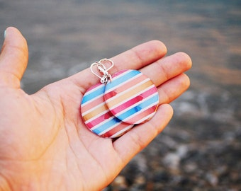 Red blue stripe - red blue earrings, nautical earrings,multicolor jewelry, sea ocean, carnival print, gift idea for her - ready to ship