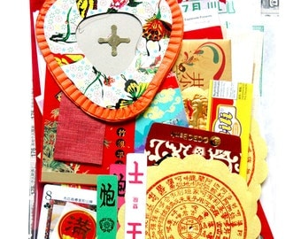 Scrap Chinese paper pack - New and Vintage paper ephemera, paper scraps