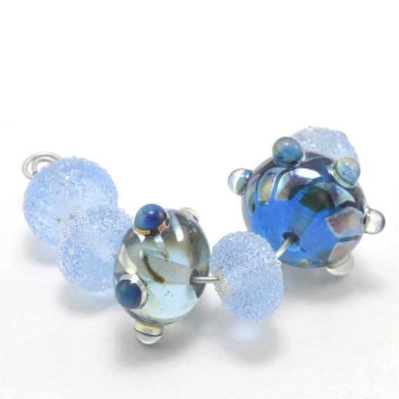 Blue Sugars with Focals : Handmade Lampwork Beads
