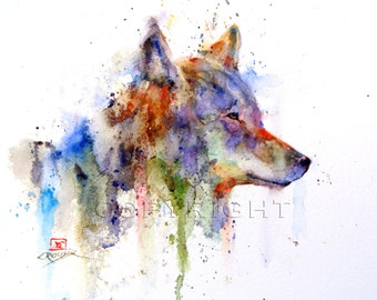 COYOTE Watercolor Art Print, Coyote Painting by Dean Crouser