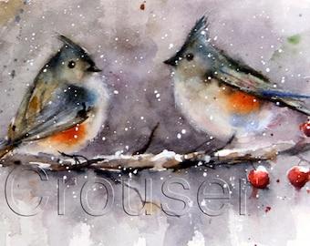 WINTER BIRDS Watercolor Print by Dean Crouser