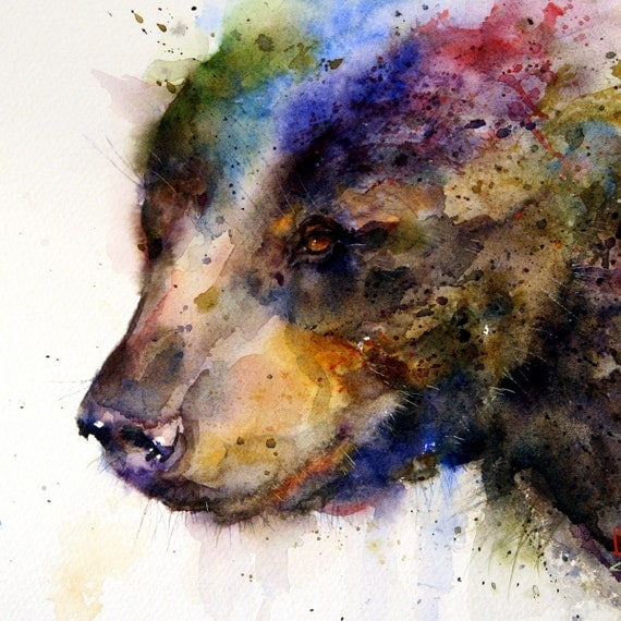 BLACK BEAR Extra Large Watercolor Art Print by Dean Crouser
