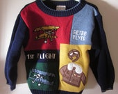 Vintage Boys Retro Flyer Color Block Sweater size 4T