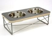 Modern Pet Feeder - Dog Bowl or Cat Bowl Elevated Feeder Mid Century Modern Design Eames Inspired in Grey Color